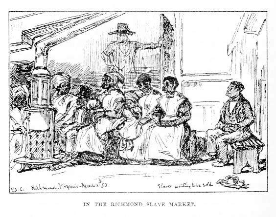 Original sketch by Eyre Crowe, dated 3 March 1853, published in 'With Thackeray in America'