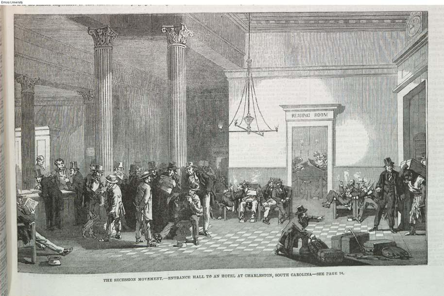 'The Secession Movement - Entrance Hall to an hotel at Charleston, South Carolina' by Eyre Crowe (1861)