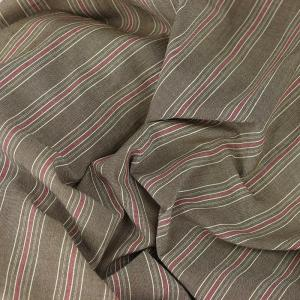 Tissu lin rayures fond marron © Eyrelles tissus