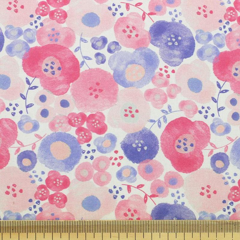 Tissu coton imprimé Colchic rose © Eyrelles Tissus