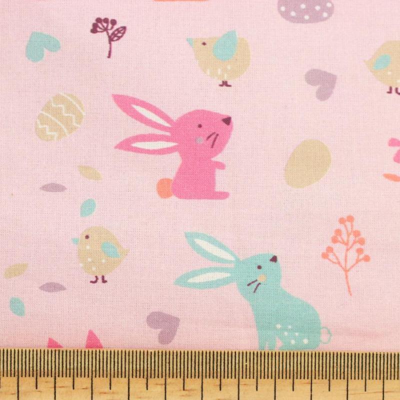 Tissu coton imprimé kids rose © Eyrelles Tissus