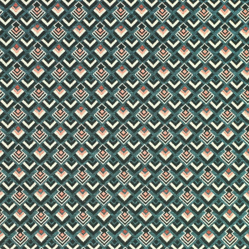 Tissu Jacquard Nazca Bleu © Eyrelles Tissus