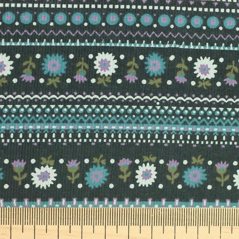 Tissu velours milleraies fleuris bleu © Eyrelles Tissus
