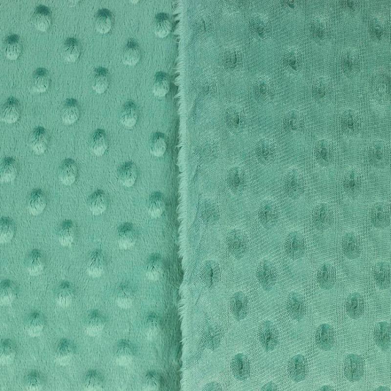 """Tissus Minky à pois """"Dolce - Vert Foncé"""" © Eyrelles Tissus"""