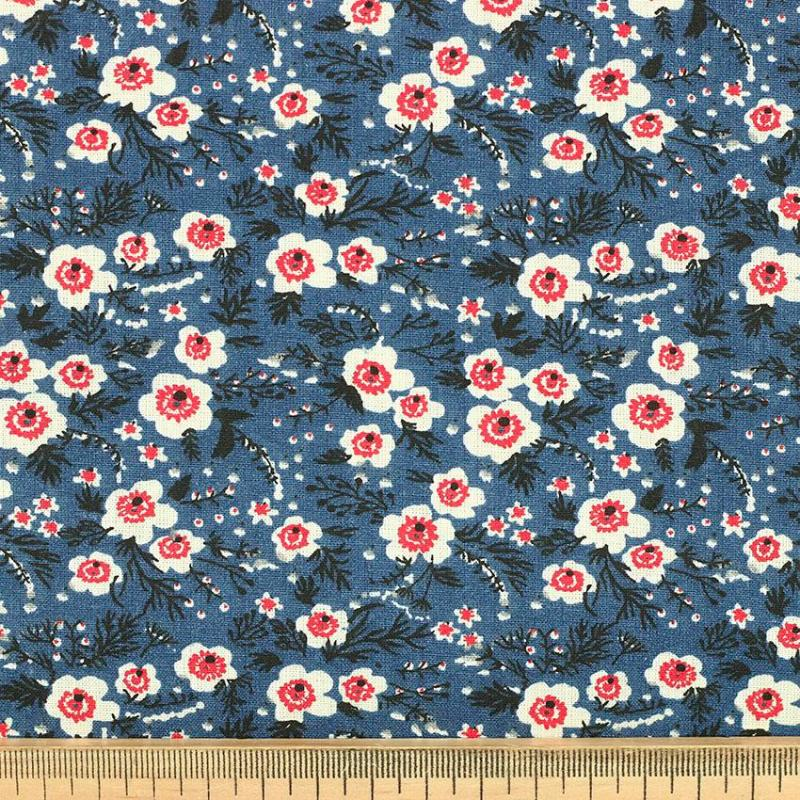 "Tissu coton imprimé ""Malak - Bleu"" © Eyrelles Tissus"