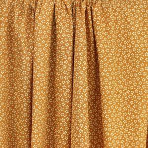 Tissu coton imprimé popeline Myosotis Moutarde © Eyrelles Tissus