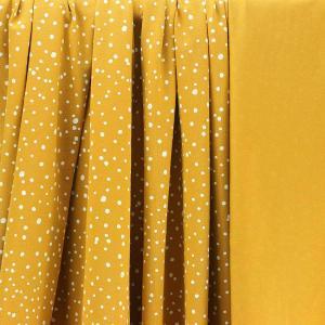 Tissus Jersey coton oeko tex Pois Moutarde © Eyrelles Tissus