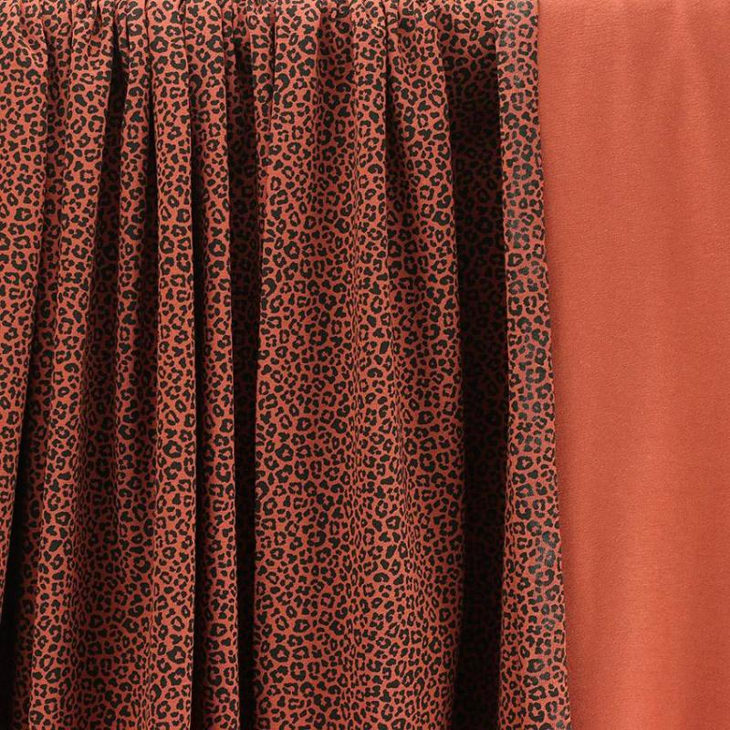 Tissus Jersey coton oeko tex Léopard Brique © Eyrelles Tissus
