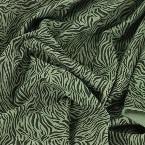 Tissus Jersey de coton imprimé oeko tex Zèbre vert kaki © Eyrelles Tissus