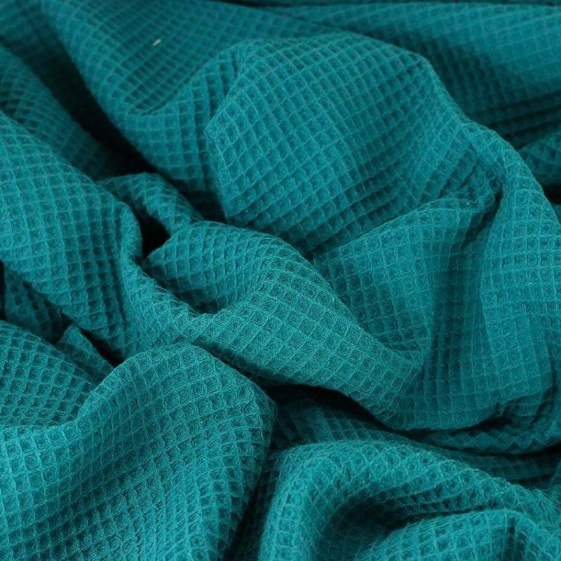Tissus Nid d'Abeille oeko tex nuage Bleu canard © Eyrelles Tissus