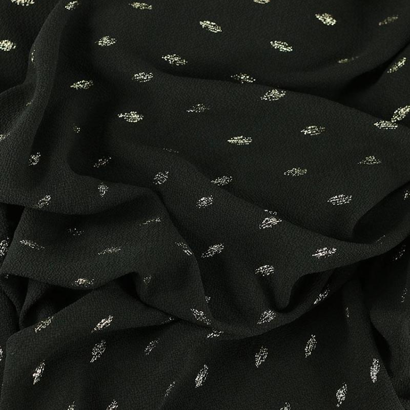 "Tissu crêpe 100 % Polyester fleurs ""Persane - Noir"" © Eyrelles Tissus"