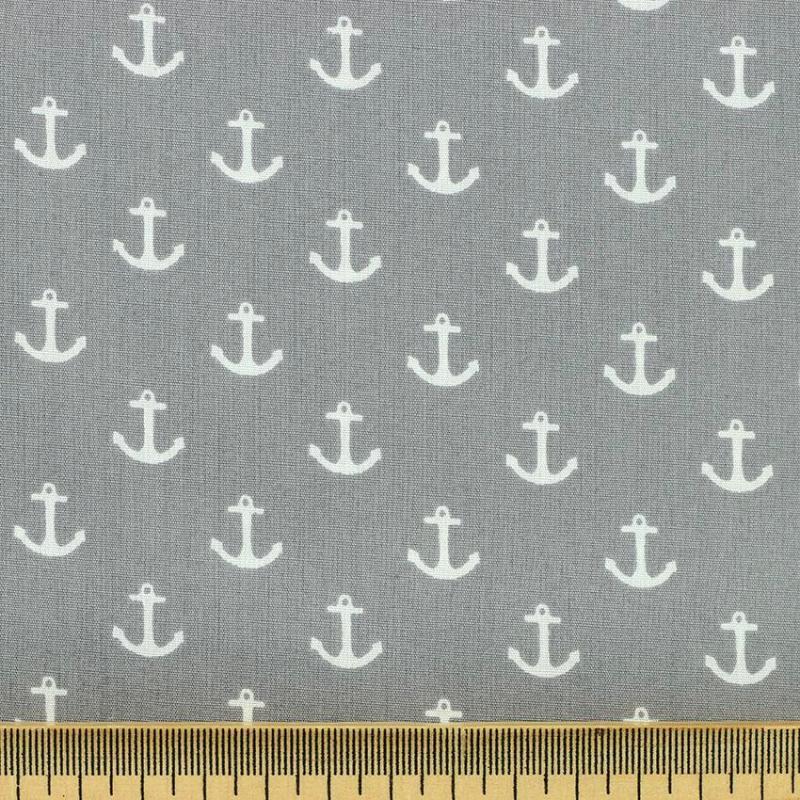 Tissu coton imprimé popeline ancre gris © Eyrelles Tissus
