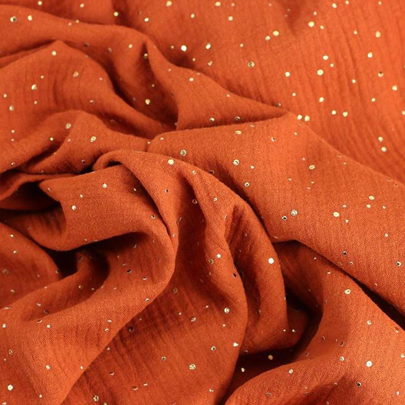 Tissu double gaze pois dorés brique © Eyrelles Tissus