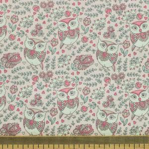 Tissu coton imprimé popeline Chouette Rose © Eyrelles Tissus