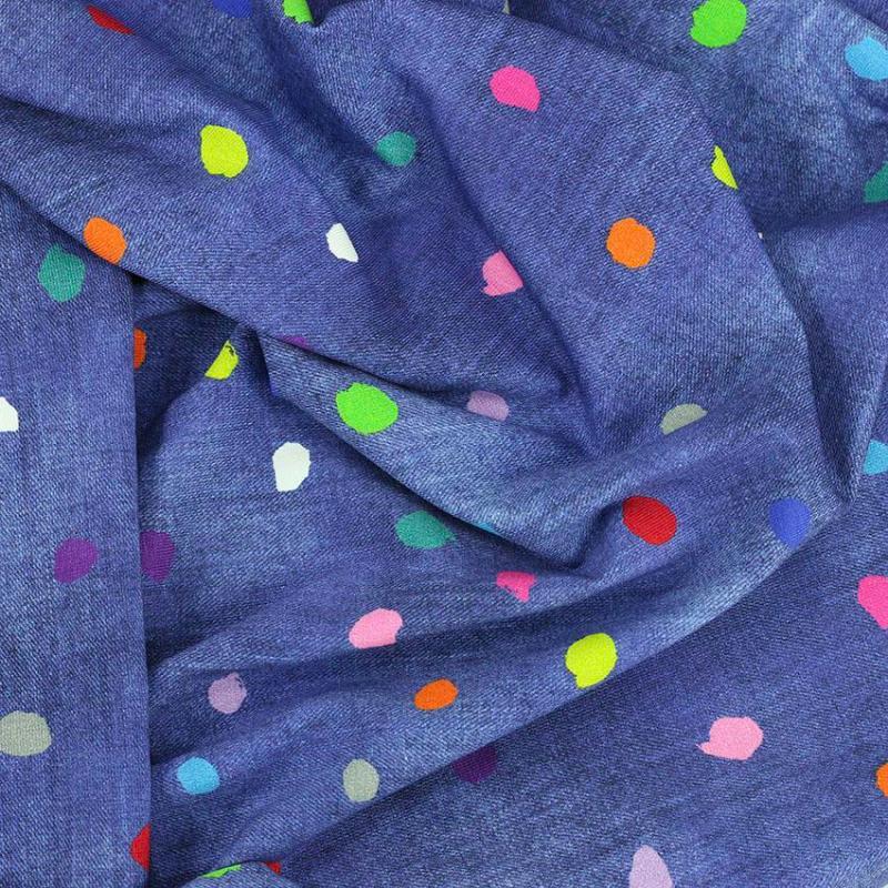 Tissus Jersey coton imprimé oeko tex Crafty - Bleu © Eyrelles Tissus