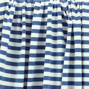 Tissus Jersey coton imprimé oeko tex Marinière bleu © Eyrelles Tissus