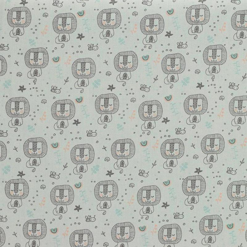 Tissu coton imprimé popeline Lion Gris © Eyrelles Tissus