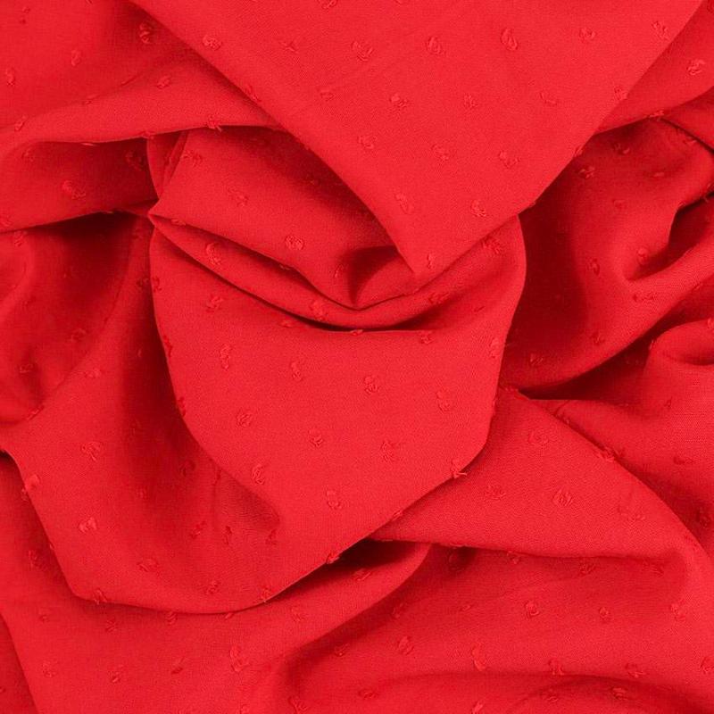 """Tissus Viscose """"Plumetis - Vert Rouge"""" © Eyrelles Tissus"""