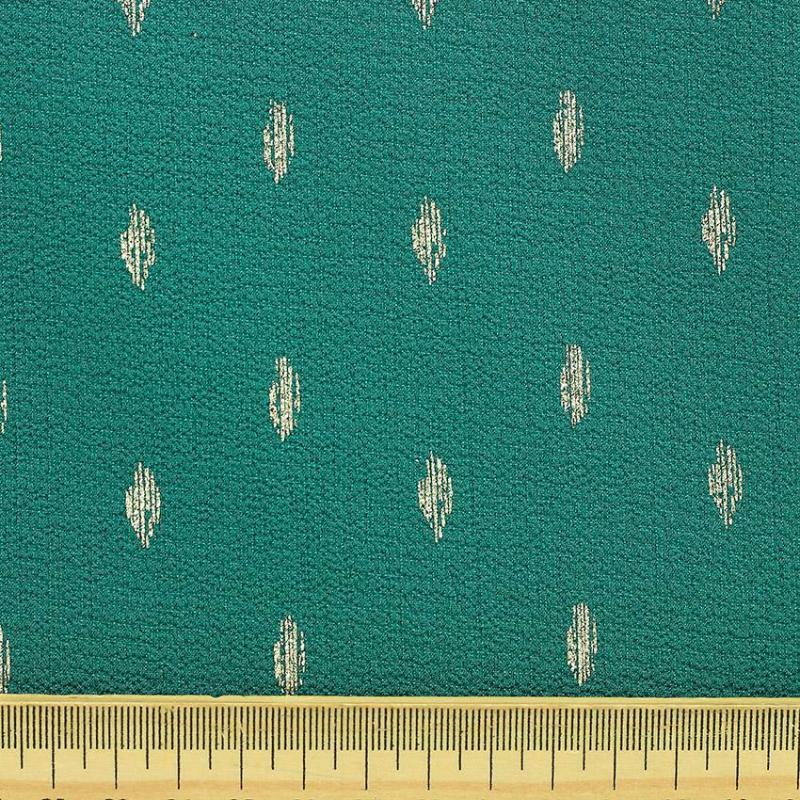 "Tissu crêpe 100 % Polyester fleurs ""Persane - Vert Paon"" © Eyrelles Tissus"