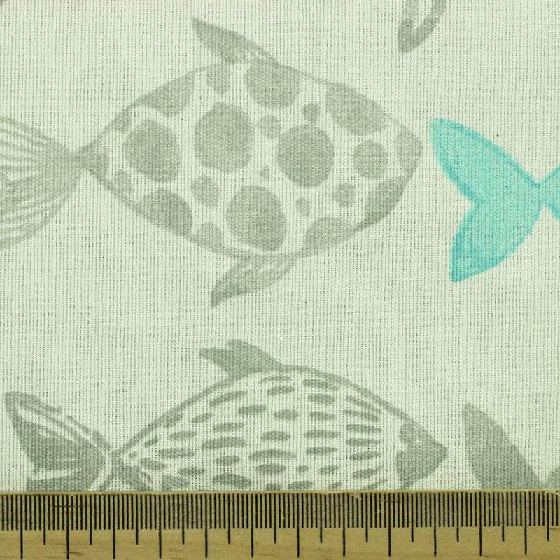 Tissu toile imprimée tissus Poisson Bleu © Eyrelles Tissus