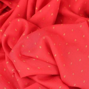"Tissu viscose unie brodée ""Thalia - Rose corail"" © Eyrelles Tissus"