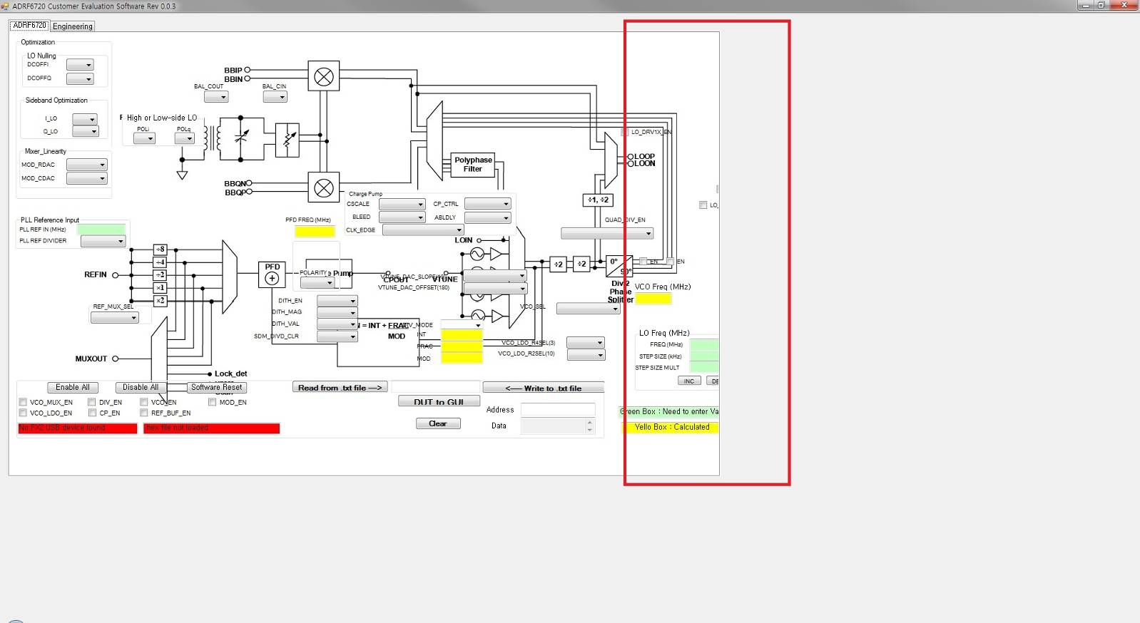 hight resolution of issue at a block diagram display in adrf6720 adrf6820 evaluation software