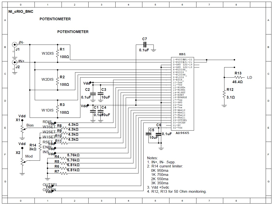 Request schematic check for the AD9665. Pulsing 30ns 800ma