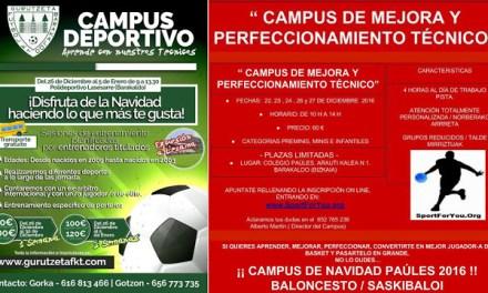 El PAíšLES de baloncesto y el Gurutzeta de fútbol organizan campamentos infantiles de Navidad