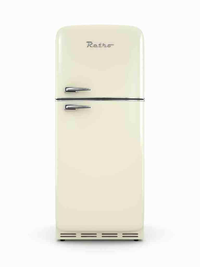 Retro fridge isolated on white background 3D rendering