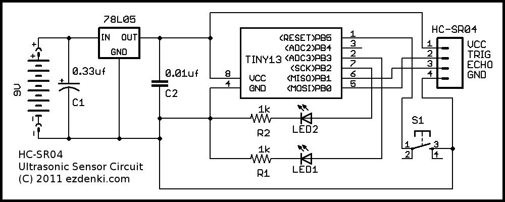 HC-SR04 Ultrasonic Sensor on an Atmel ATtiny13 at EZdenki.com