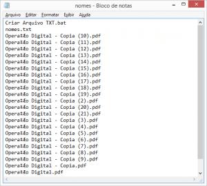 copiar o nome de todos os arquivos de uma pasta de uma só vez