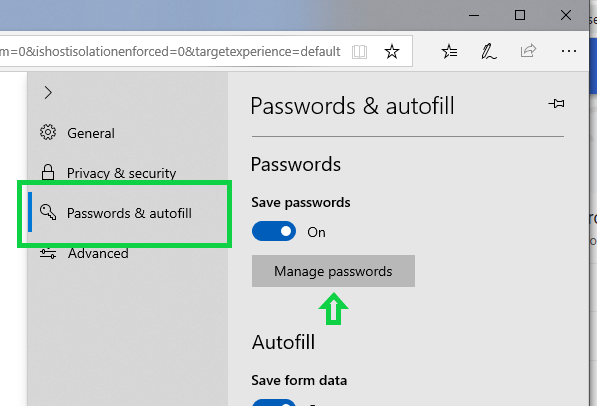 accessing microsoft edge browser saved passwords step 2
