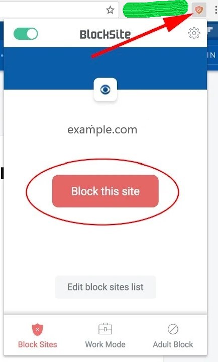 Blocking website with Block site chrome extension
