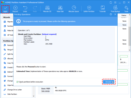 create partition from existing partition step 4