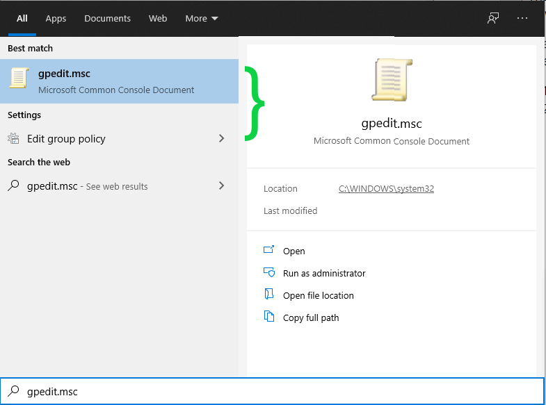 opening windows 10 group policy editor from taskbar search