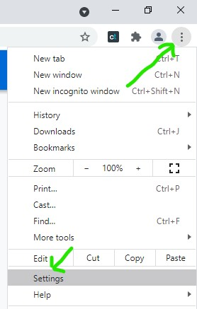 Opening the Settings of Google Chrome browser