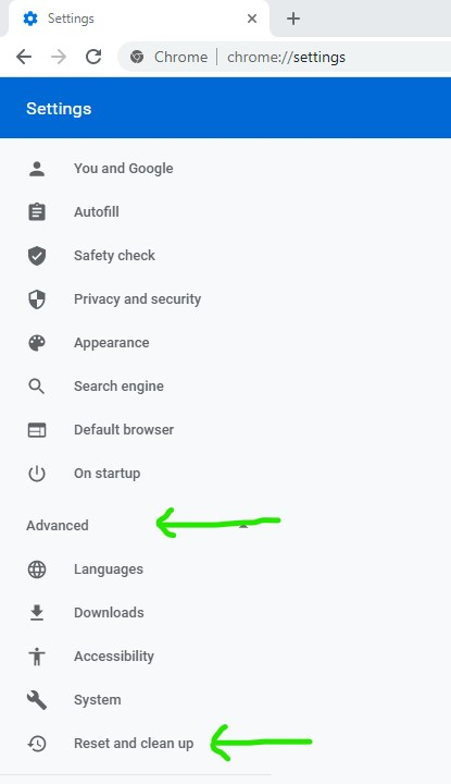 How to get to the Reset and Clean up option in Google Chrome browser