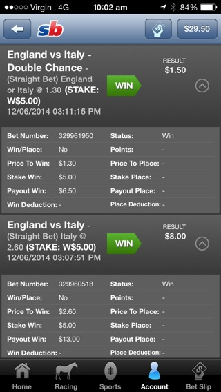 won a bet on england