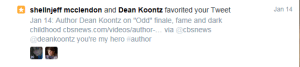 Twitter fav by Koontz