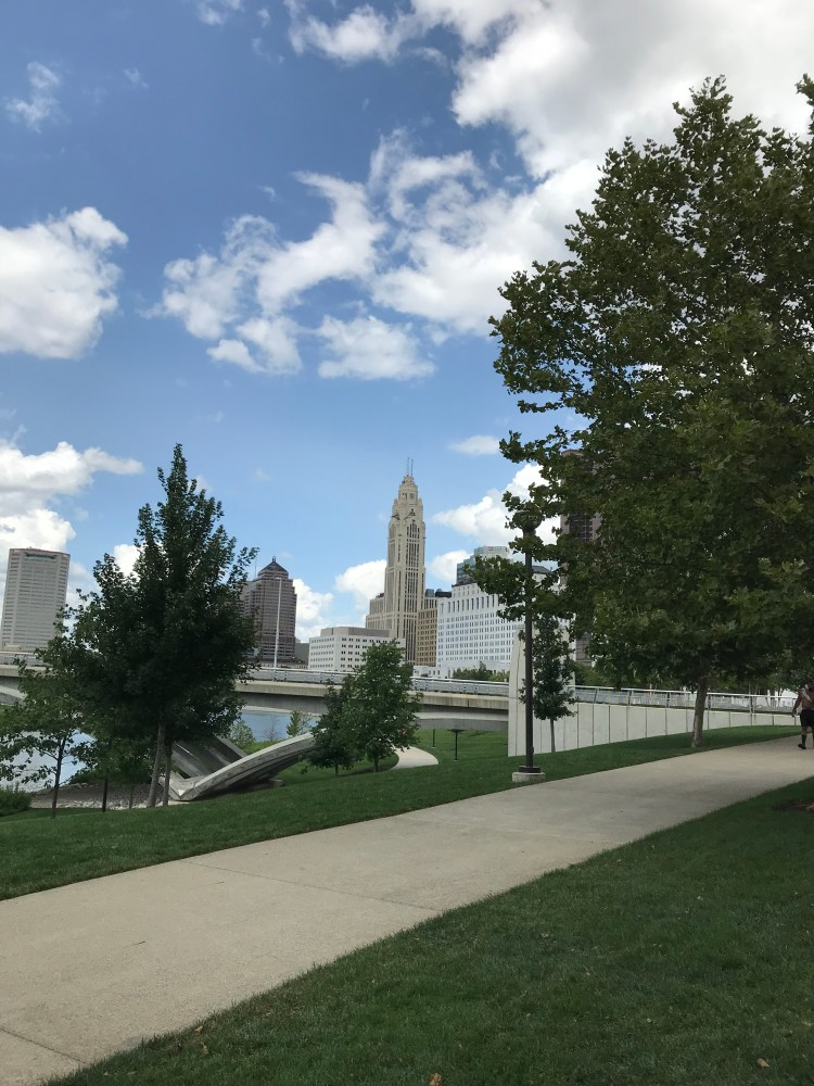 View of Riverfront Park Columbus Ohio, new home city