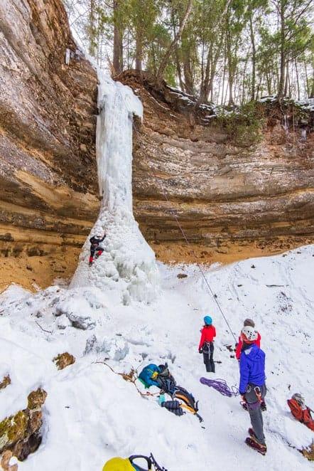 ice climbing Michigan