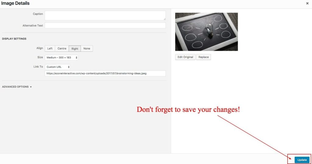 save changes in wordpress