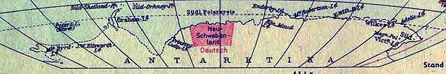 Немецкая антарктическая экспедиция. Фрагмент немецкой карты мира 1941 года, показывающий Новую Швабию как владение Германии