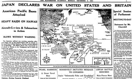 Нападение на Перл Харбор вырезка из старой газеты