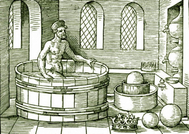 Архимед в ванной. Гравюра XIV века