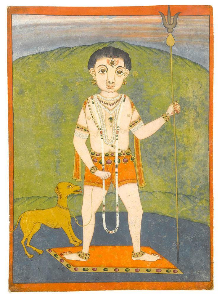 Шива в ипостаси Ватука-бхайравы — ребёнка в возрасте 5-7 лет, всегда сопровождаемого собакой