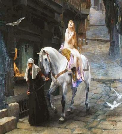 Это древняя и красивая легенда о благородной и добродетельной леди Годива, проехавшей ради своих подданных нагой по улицам города