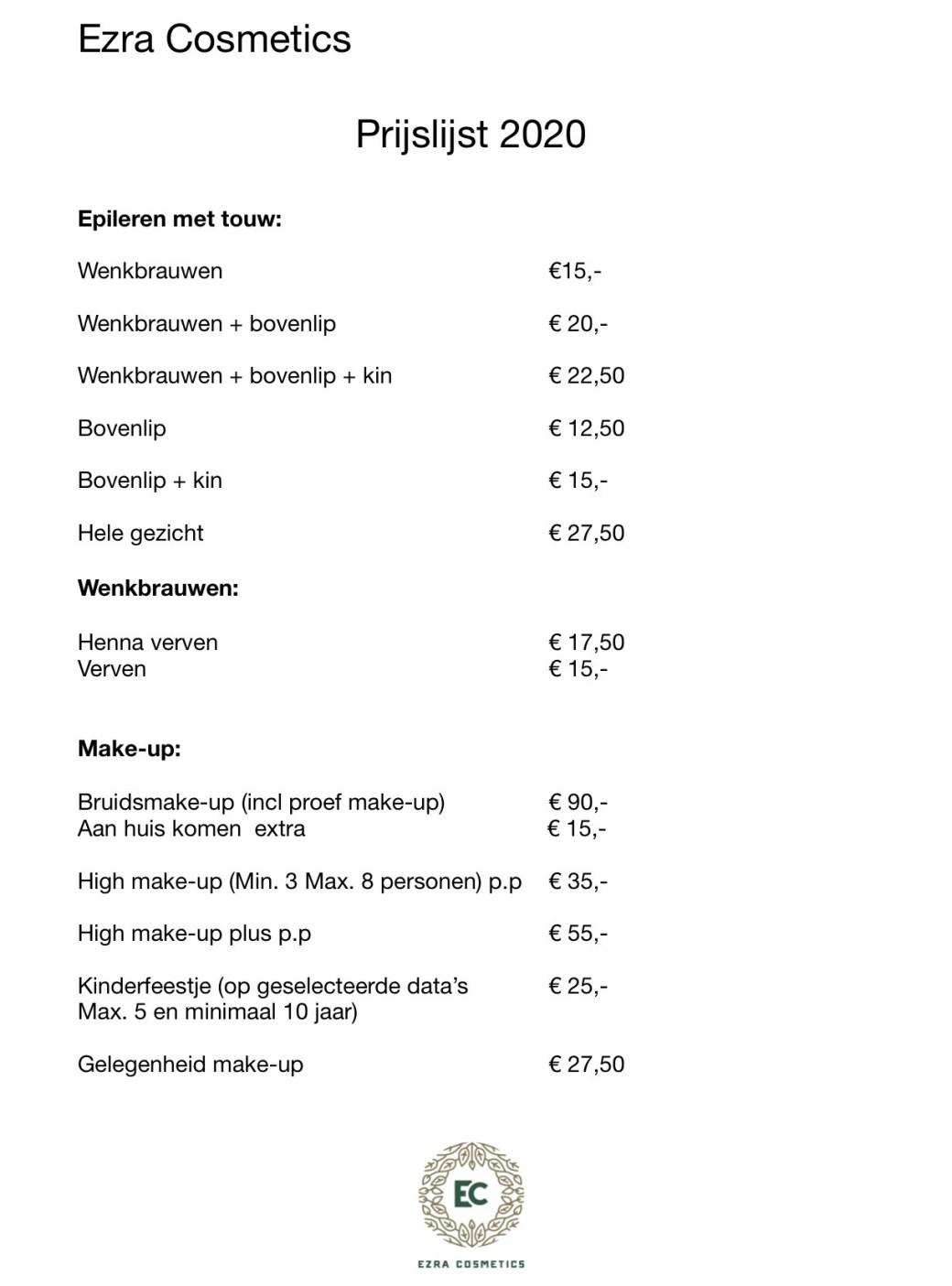 prijslijst ezra cosmetics