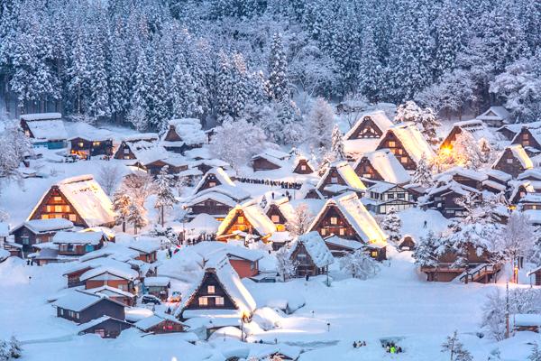 合掌村Shirakawago light-up with Snowfall Gifu Chubu Japan-shutterstock_256865620.jpg