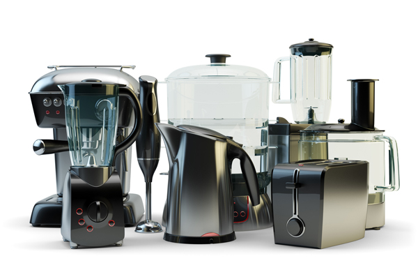 Household and kitchen appliances, domestic electronics and kitch